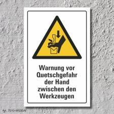 """Warnschild """"Quetschgefahr, Hand, Werkzeuge"""",..."""