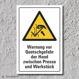 """Warnschild """"Quetschgefahr, Hand, Presse"""", DIN ISO 7010, 3 mm Alu-Verbund"""