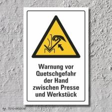 """Warnschild """"Quetschgefahr, Hand, Presse"""", DIN..."""