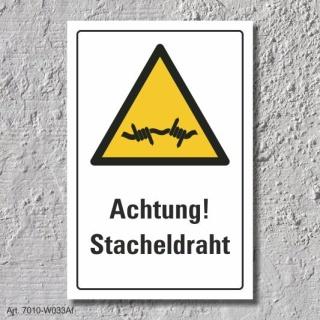 """Warnschild """"Achtung! Stacheldraht"""", DIN ISO 7010, 3 mm Alu-Verbund"""