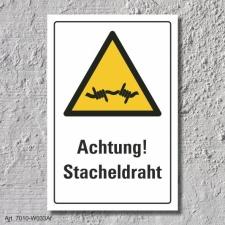 """Warnschild """"Achtung! Stacheldraht"""", DIN ISO..."""