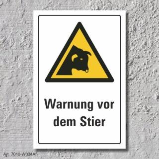 """Warnschild """"Warnung vor dem Stier"""", DIN ISO 7010, 3 mm Alu-Verbund"""