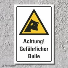 """Warnschild """"Gefährlicher Bulle"""", DIN ISO..."""