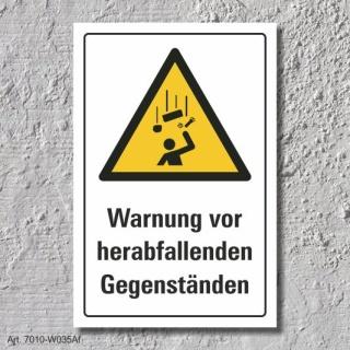 """Warnschild """"Herabfallende Gegenstände"""", DIN ISO 7010, 3 mm Alu-Verbund"""