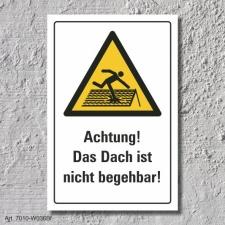 """Warnschild """"Dach nicht begehbar"""", DIN ISO 7010,..."""