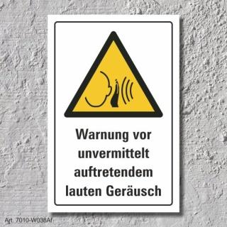 """Warnschild """"Unvermittelt laute Geräusche"""", DIN ISO 7010, 3 mm Alu-Verbund"""
