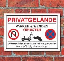 """Schild Parkplatz """"Privatgelände, wenden und..."""