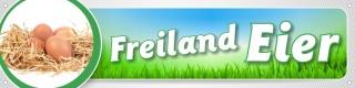 """Werbebanner, Plane """"Freiland Eier"""" mit Ösen, 4000 x 1000 mm"""