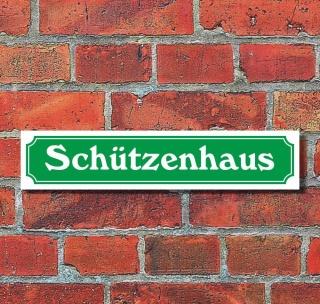 """Schild im Straßenschild-Design """"Schützenhaus"""" - 3 mm Alu-Verbund - 52 x 11 cm"""