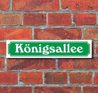 """Schild im Straßenschild-Design """"Königsallee"""" - 3 mm Alu-Verbund - 52 x 11 cm"""