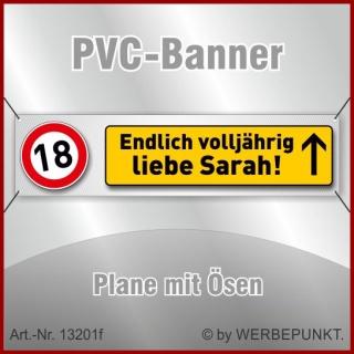 18. Geburtstag, Banner, Plane, Geschenk, Überraschung 200x50 cm mit 4 Ösen