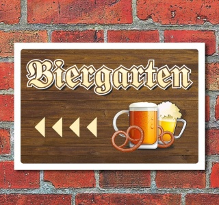 """Schild """"Biergarten, links"""", 3 mm Alu-Verbund"""