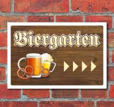 """Schild """"Biergarten, rechts"""", 3 mm Alu-Verbund"""