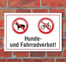 "Schild ""Hunde, Fahrradverbot"", 3 mm Alu-Verbund"