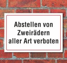 """Schild """"Abstellen, Zweiräder verboten"""", 3..."""