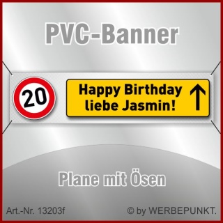 20. Geburtstag, Banner, Plane, Geschenk, Überraschung 200x50 cm mit 4 Ösen