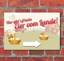 """Schild """"Frische Eier vom Lande, Pfeil rechts"""",..."""