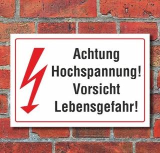 Schild Achtung Hochspannung, Lebensgefahr, 3 mm Alu-Verbund