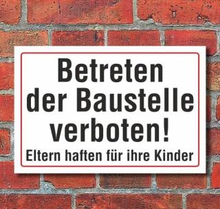 Schild Betreten der Baustelle verboten, 3 mm Alu-Verbund  300 x 200 mm
