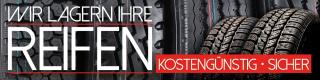 """Werbebanner,  Plane """"Reifenlagerung"""", Reifen, Rad, lagern, mit Ösen, 2000 x 500 mm"""