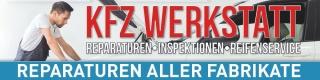 """Werbebanner,  Plane """"KFZ Werkstatt"""", reparatur, auto, mit Ösen, 2000 x 500 mm"""