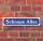 """Schild im Straßenschild-Design """"Schnaps Allee"""" - 3 mm Alu-Verbund - 52 x 11 cm"""