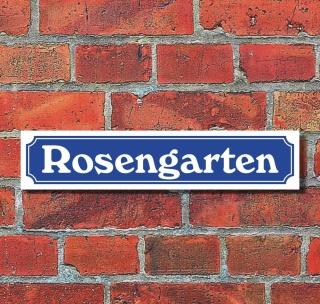 """Schild im Straßenschild-Design """"Rosengarten"""" - 3 mm Alu-Verbund - 52 x 11 cm"""