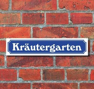 """Schild im Straßenschild-Design """"Kräutergarten"""" - 3 mm Alu-Verbund - 52 x 11 cm"""
