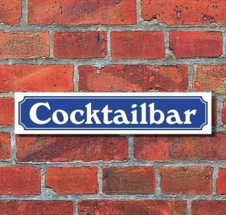 """Schild im Straßenschild-Design """"Cocktailbar"""" - 3 mm Alu-Verbund - 52 x 11 cm"""