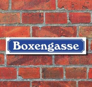 """Schild im Straßenschild-Design """"Boxengasse"""" - 3 mm Alu-Verbund - 52 x 11 cm"""