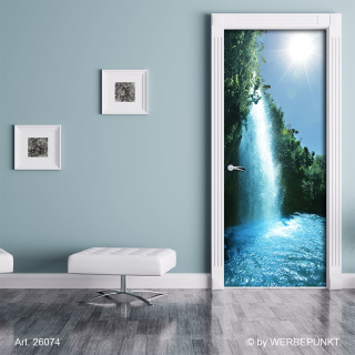 "Türtapete ""Sonniger Wasserfall"", Türposter, selbstklebend 2050 x 880 mm"