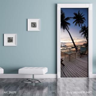 "Türtapete ""Terasse am Strand, Palmen"", Türposter, selbstklebend 2050 x 880 mm"