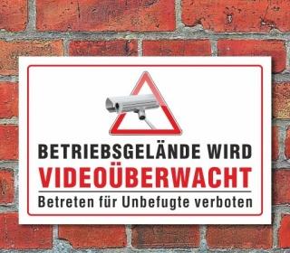 Videoüberwachung Überwachung Alarmgesichert Kamera Objekt Schild, 3 mm Alu-Verbund