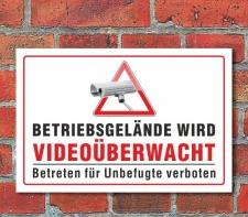 Schild Betriebsgelände wird Videoüberwacht, 3...