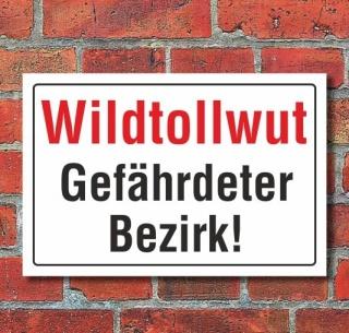 Schild Wildtollwut, Gefährdeter Bezirk, 3 mm Alu-Verbund