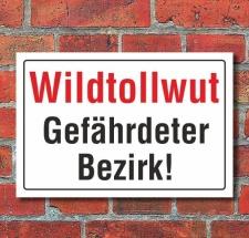 Schild Wildtollwut, Gefährdeter Bezirk, 3 mm...