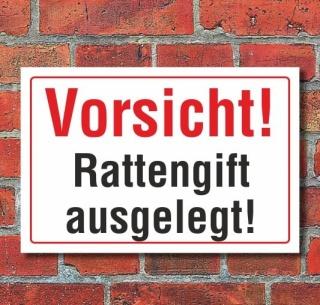 Schild Vorsicht Rattengift ausgelegt, 3 mm Alu-Verbund