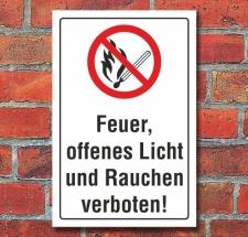 Schild Feuer, offenes Licht und Rauchen verboten, 3 mm...