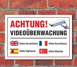 """Schild """"Achtung, Videoüberwachung, mehrsprachig"""", 3 mm Alu-Verbund"""