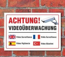 """Schild """"Achtung, Videoüberwachung,..."""