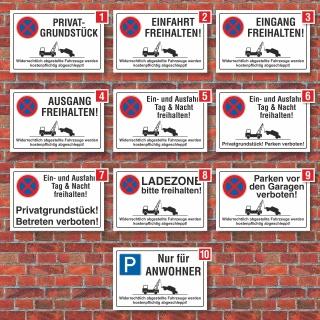 Verschiedene Parkplatzschilder, Privat, Verbot, 3 mm Alu-Verbund