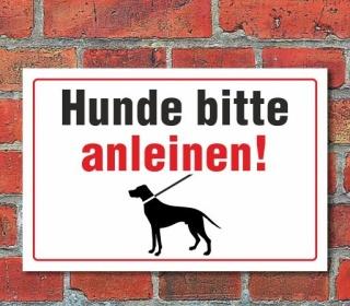 """Schild """"Hunde anleinen"""" 3mm Alu-Verbund"""