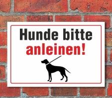 """Schild """"Hunde anleinen"""" 3mm Alu-Verbund, 450 x..."""