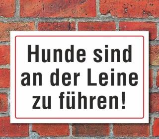 """Schild """"Hunde an der Leine"""" 3mm Alu-Verbund"""