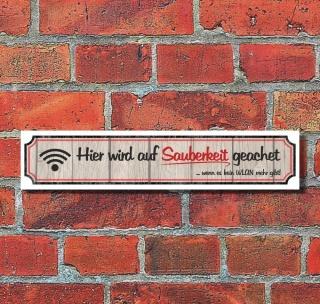 """Vintage Schild Retro Deko Straße """"Sauberkeit, WLAN""""  52 x 11 cm"""