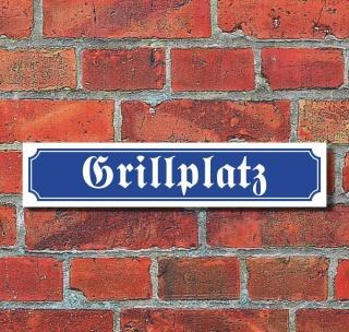 """Schild im Straßenschild-Design """"Grillplatz"""" - 3 mm Alu-Verbund - 52 x 11 cm"""