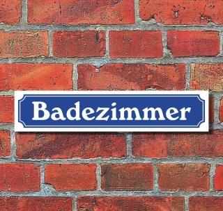"""Schild im Straßenschild-Design """"Badezimmer"""" - 3 mm Alu-Verbund - 52 x 11 cm"""