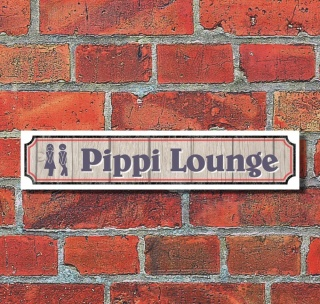 "Vintage Schild Retro Deko Straße ""Pippi Lounge Toilette""  52 x 11 cm"