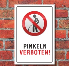 """Schild """"Pinkeln verboten urinieren pissen"""" 3mm..."""