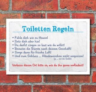 Vintage Schild Retro Deko Toiletten Regeln WC
